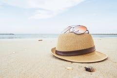 Beach items on smooth sand. Y beach Royalty Free Stock Photo