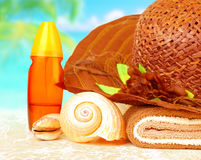 Beach items still life Royalty Free Stock Images