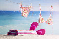 Beach items, summer vacation background Stock Photos