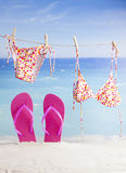 Beach items, summer vacation background Royalty Free Stock Images