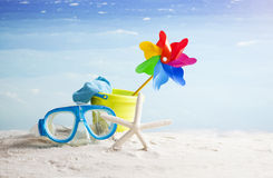 Beach items, summer vacation background Stock Photo