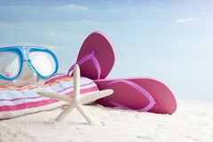 Beach items, summer vacation background Stock Photography