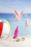 Beach items, summer vacation background Royalty Free Stock Photography