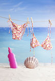 Beach items, summer vacation background Stock Images