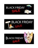 Beach Items on Three Black Friday Sale Banners Royalty Free Stock Photo