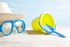 Beach items, vacation background Royalty Free Stock Photo
