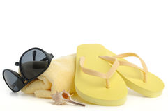 Beach items  on white Stock Image