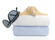 Beach items  on white Stock Photography