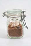 Beach in a Jar. A small glass jar containing some sand and seashell royalty free stock photos