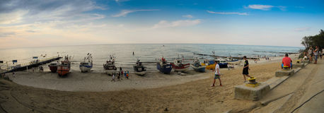 Beach in Jaroslawiec. Fishing boats on beach in Jaroslawiec, Poland stock photo