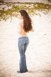 Beach Jeans Woman Royalty Free Stock Photos