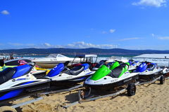 Beach jet skis Stock Photos