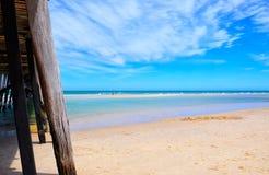 Beach jetty ocean point of view. Stock Photos