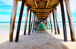 Beach jetty ocean point of view. Stock Image