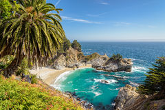 McWay falls in Julia Pfeiffer Beach, Big Sur, California. McWay falls is merely a small stream dropping just 80 feet. What makes it stunning is the drop is from Royalty Free Stock Photos