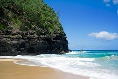 Beach Kalalau trail, Kauai. Along the majestic fins of the world-famous Napali Coast Royalty Free Stock Photography