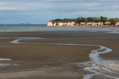 Beach at Karepiro Bay at low tide Royalty Free Stock Image