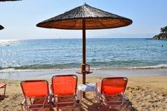 Beach in Kavala, Greece. Sun loungers on the beach in Kavala, Greece stock photo