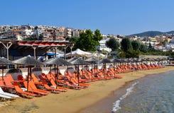 Beach in Kavala, Greece. Sun loungers on the beach in Kavala, Greece Royalty Free Stock Photography