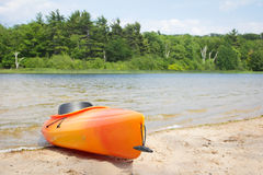 Beach Kayak Near Woods Royalty Free Stock Image