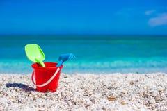 Beach kid's toys on white sand Royalty Free Stock Photo