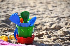 Beach kid toys in the sand Royalty Free Stock Photo
