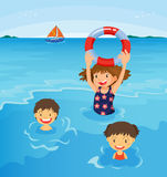 Beach kids. Kids swimming at the beach illustration Stock Photography