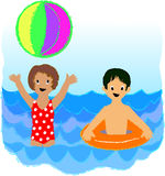 Beach Kids. Crayon-type illustration of a boy and a girl playing in the water at the beach Stock Photos