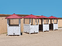 Beach kiosks with numbers Stock Image