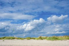 Beach with kite surfer in Laboe Stock Photos