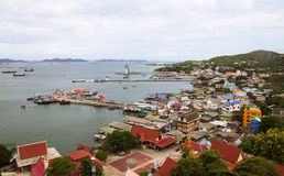 Beach Ko Si Chang, Thailand. Harbor and waterfront view from above. Colorful, bright image Stock Images