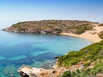 The beach Kolona in Andros, Greece. The beach Kolona near Batsi in Andros, Greece stock photos