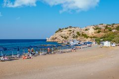 Beach in Kolymbia. Rhodes, Greece royalty free stock image