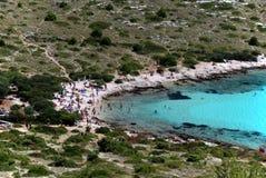 Beach on Kornati island with lots of tourist. Adriatic sea beach side with lots of tourist Royalty Free Stock Photography
