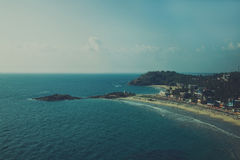 Beach in Kovalam. View from the top of the beach in Kovalam. Kerala, India royalty free stock photo