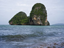 Beach in Krabi Thailand. Mountains in the distance Stock Photos
