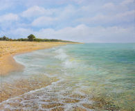 Beach Krapets. An oil painting on canvas of the sandy beach near village Krapets in the summer with calm, inviting crystal clear water. Idyllic landscape of a Royalty Free Stock Photography