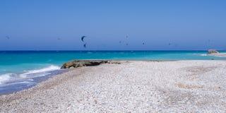 Beach in Kremasti, Rhodes island, Greece. Beautiful but windy beach in Kremasti, Rhodes island, Greece Royalty Free Stock Image