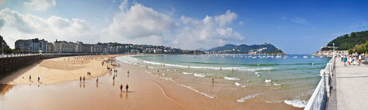 Beach of La Concha in San Sebastian, Spain Royalty Free Stock Photography