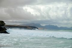 Beach La Pared on Fuerteventura, Spain. Beach La Pared in a stormy day with strong waves on the Canary Island Fuerteventura, Spain Royalty Free Stock Photo