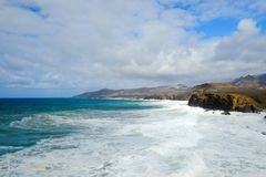 Beach La Pared on Fuerteventura, Spain. Beach La Pared in a stormy day with strong waves on the Canary Island Fuerteventura, Spain Stock Photography