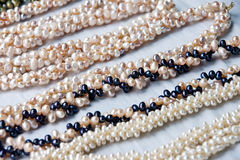 Jewelery of natural pearls. On the beach of La Restinga, national park of the island of Margarita, Caribbean Sea. There are craftsmen who sell jewels with Royalty Free Stock Photography