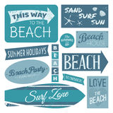 Beach Labels Collection. A set of vintage beach design elements in blue isolated on white background Stock Photography