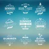 Beach labels set on blue background Royalty Free Stock Photo