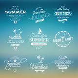 Beach labels set on blue Stock Images