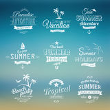 Beach labels set on blue background Stock Image