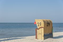 Beach in Laboe. Beach with canopied wicker beach chairs in Laboe at the Baltic Sea Stock Photo