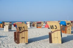 Beach in Laboe. Beach with canopied wicker beach chairs in Laboe at the Baltic Sea Stock Image