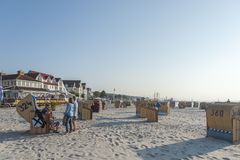 Beach in Laboe. Beach with canopied wicker beach chairs in Laboe at the Baltic Sea Royalty Free Stock Images