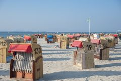 Beach in Laboe. Beach with canopied wicker beach chairs in Laboe at the Baltic Sea Royalty Free Stock Photography